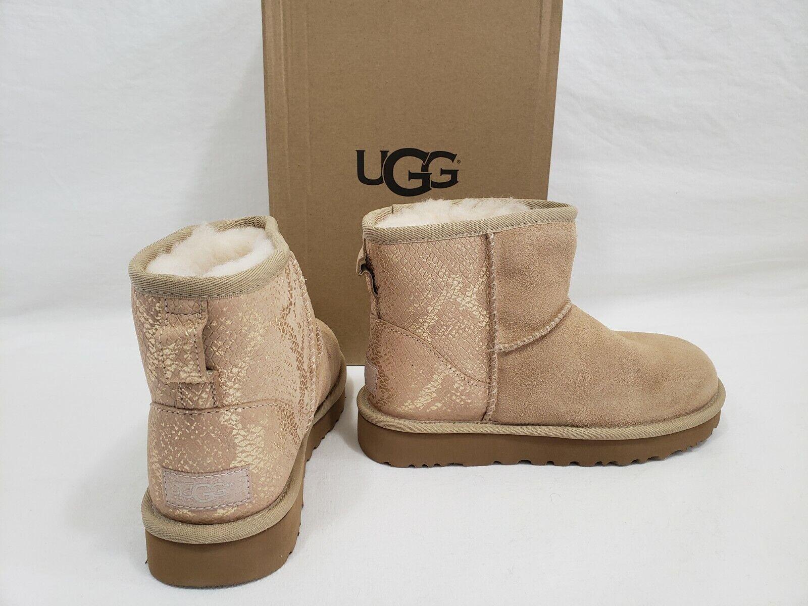 NIB UGG Classic Mini Metallic Gold Snake Beige Suede Boots W
