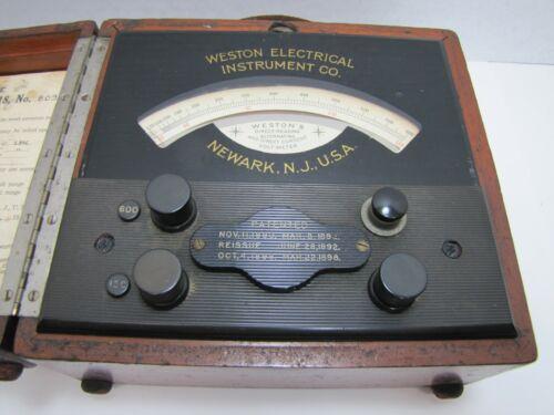 WESTON ELECTRICAL INSTRUMENT Co p1898 Reverse on Glass VOLT-METER Newark NJ USA