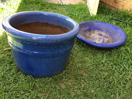 Blue glazed terracotta pot with saucer plate Glenwood Blacktown Area Preview