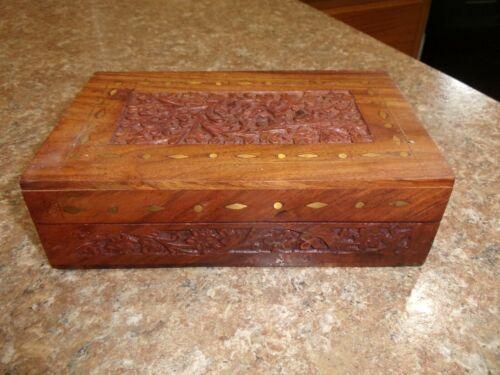 "Vintage Wooden Cigar Tobacco Humidor Trinket Wood Box Floral Carving 5"" X 8"""
