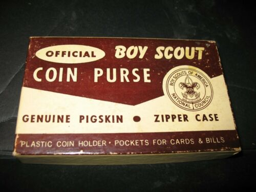 1950s OFFICIAL BOY SCOUT Pigskin Coin Purse Change Holder Original Box NO. 1237