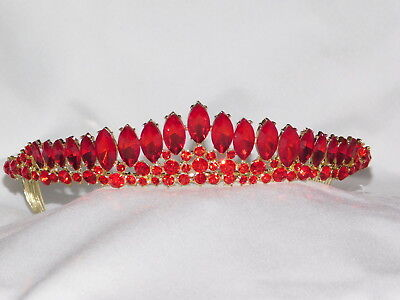 Gold Red Ruby marquise Rhinestone Crystal Beauty Queen Tiara Princess Crown 1355 - Red Tiaras