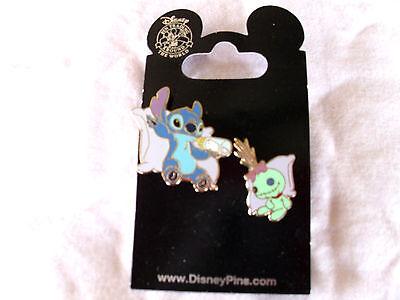 Disney * STITCH & SCRUMP on PILLOWS * New on Card 2-Pin Set Trading Pins