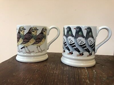 Emma Bridgewater London Pigeon & Yellow Hammer 1/2 pint mugs Retired, 1st