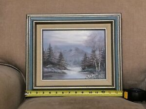 Winter Landscape signed Oil Painting