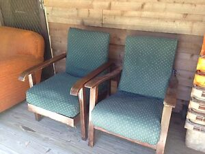 Two armchairs- wooden arm and upholstered seats Dirty Creek Coffs Harbour Area Preview
