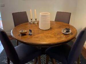 Parquetry Round Dining Table with Chairs