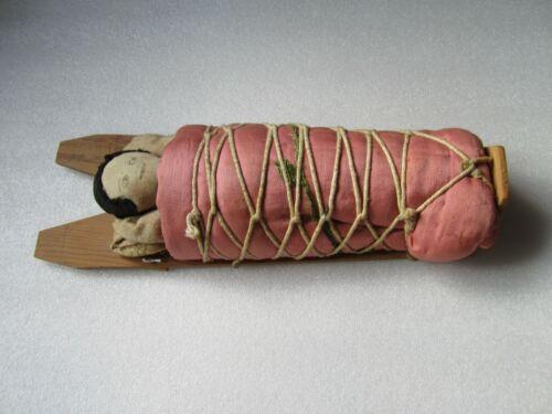 Original Antique Native American Indian Handmade Cloth Doll w/ Cradle Board