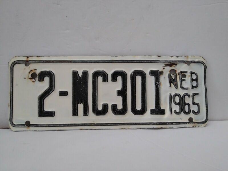 Vintage 1965 Nebraska Motorcycle License Plate 2 County-Lancaster White & Black