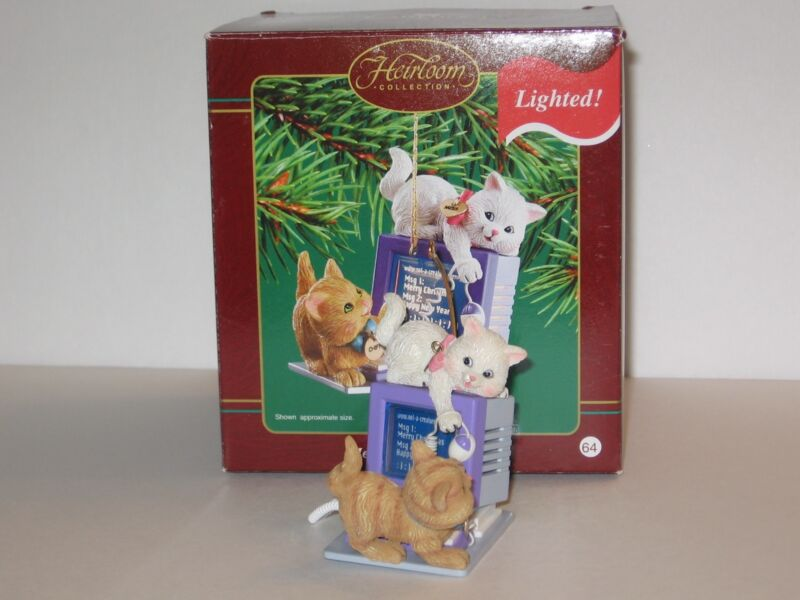 Carlton Merry Mischief Makers Kitten Christmas Ornament 2003 #8 Series Computer