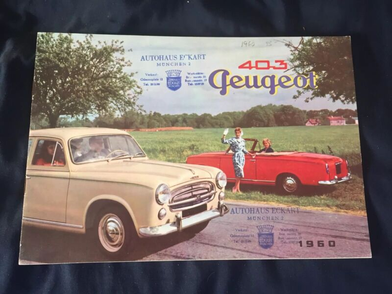 1960 Peugeot 403 Full Line Color Sales Brochure Catalog Prospekt