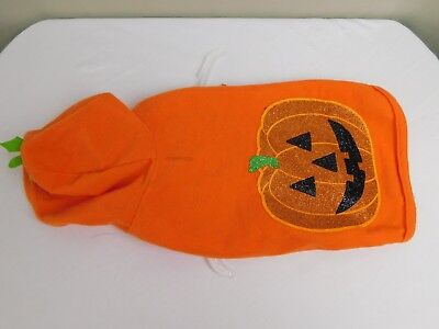 Bichon Frise Halloween Costumes (Halloween Glitter Jack-O-Lantern Pumpkin Hoodie Dog Costume Orange XS)