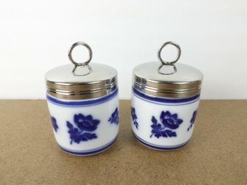2 Williams-Sonoma Egg Coddlers Blue Flowers   (it#b8)