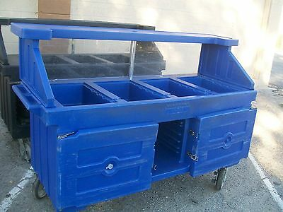Salad Bar On  Wheels Blue 4comp Overshelf Sneeeze Gurad 900 Items E Bay