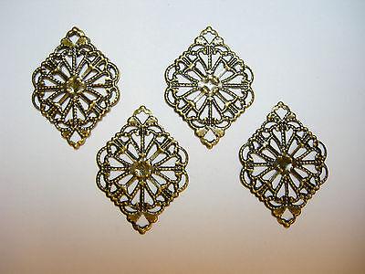 Oxidized Brass Victorian Filigree Earring Findings Drops Dangles - 4 Drops Dangles Earring Findings