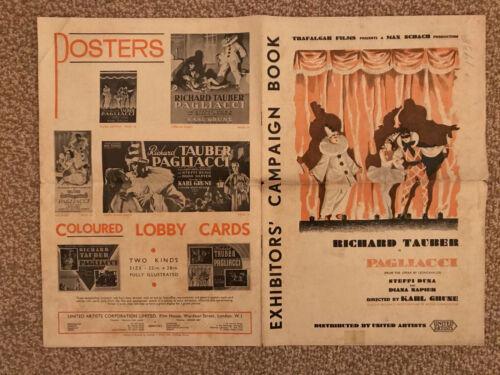 "Pagliacci 1936 United Artists 10x17"" British 8 page Pressbook Richard Tauber"