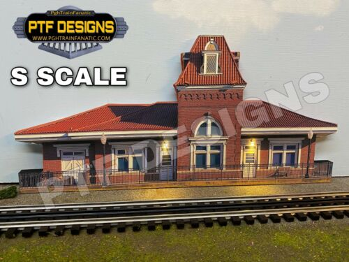 S Scale Train Station # 2 Trackside Building Flat w/LED Background - Lionel