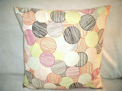 Red Circles Pillow Cover Striped Bubbles Pink Orange Lime Black Brown Hand Made Brown Striped Pillow