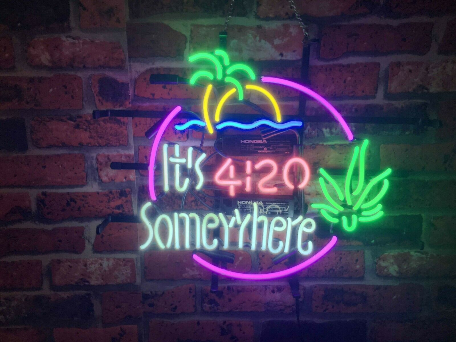 New It's 4 20 Somewhere Weed Leaf High Life Beer Bar Light L