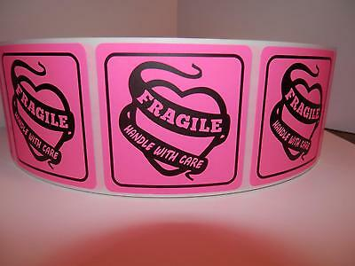 Fragile Handle With Care 2x2 Warning Sticker Label Fluorescent Pink 250rl