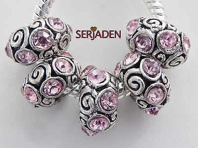 5 Pink Stone Metal Scroll Spacer Charms European Style  7 * 13 & 5 mm Hole R173