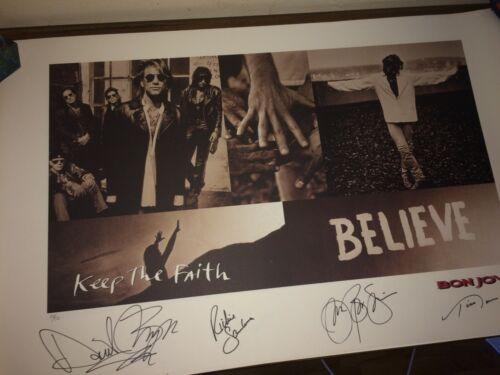 Bon Jovi Hand Signed Keep The Faith Autographed Lithograph Art Print #550/550
