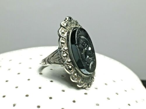 Antique UNCAS Onyx Sterling Silver Marcasite Intaglio Art Deco Ring Made In USA