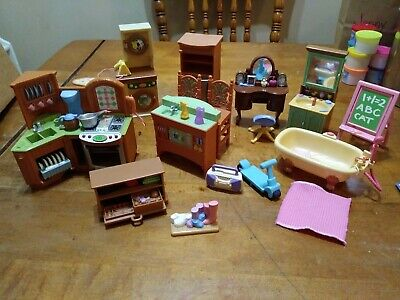 Fisher Price Loving Family Furniture Lot Kitchen Bath Laundry 2002 2004