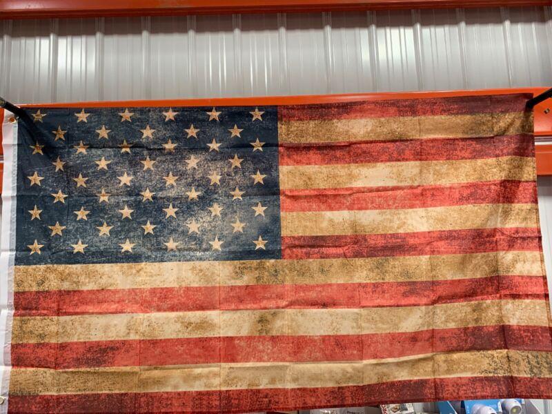 "United States American Flag Vintage Antique Distressed Look 34"" X 60"""