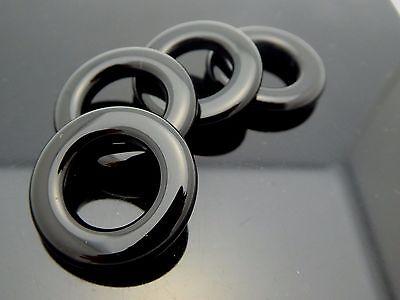 Vintage Black Onyx Smooth Round Circle Donut Ring Gemstone Pendant 4 Pieces (Black Onyx Circle Ring)