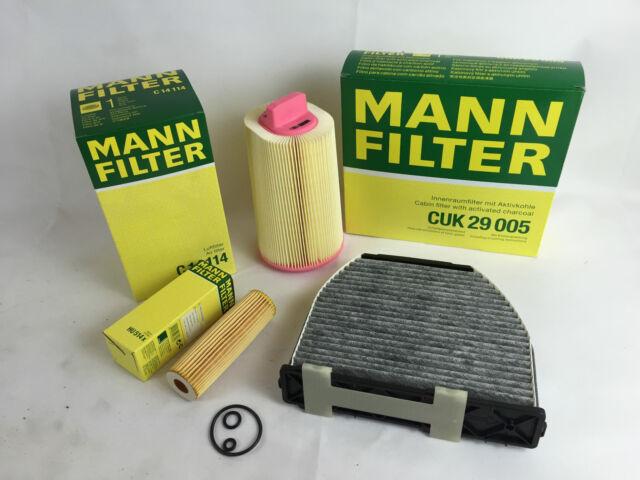 MANN-FILTER FILTER SET ÖLFILTER + LUFTFILTER +AKTIVKOHLE MERCEDES W212 E 200 NGT