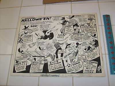 DICK CALKINS Sunday strip or advertising ORIGINAL ART, western HALLOWEEN - Halloween Themed Comics