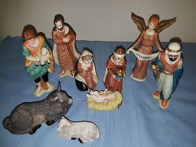 Vintage 9 pc Porcelain Nativity Figurine Set