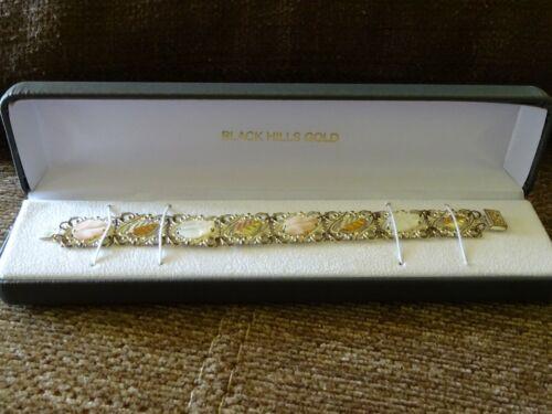 """vintage Black Hills Gold - 7"""" MOTHER-OF-PEARL LEAF BRACELET - Sterling/12K"""
