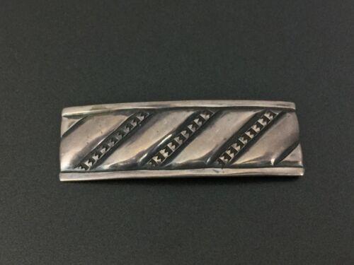 Vintage Navajo Native Sam Roanhorse Stampwork Sterling Silver Pin Brooch