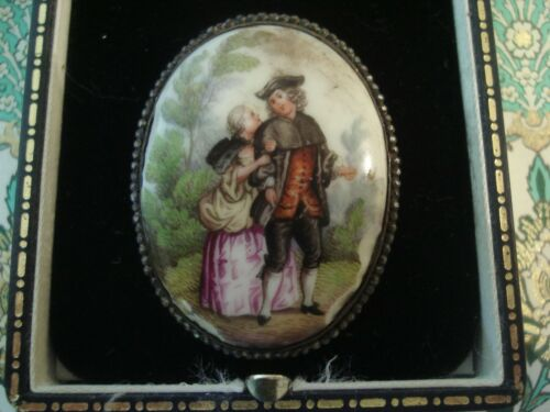 Antique 18 TH Century: Beautifully Hand Painted & Glittering Cut Steel Brooch
