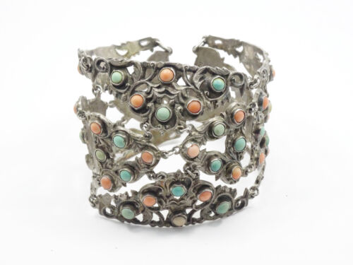 ANTIQUE CHINESE SILVER ADORNED WITH CORAL & TURQUOISE CUFF BRACELET