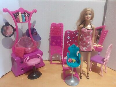 Barbie Mattel Beauty Hairsalon Playset With Furniture And Accessories Bundle