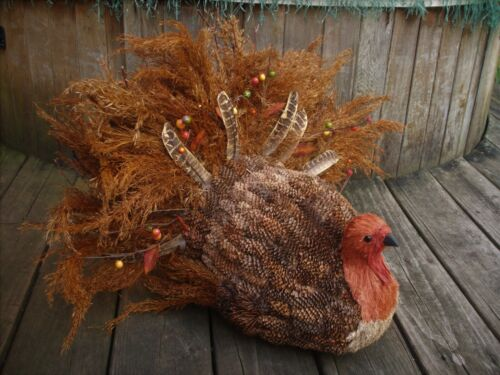 """THANKSGIVING Large 17""""H Natrual Pinecone Wheat Turkey Feather Centerpiece"""
