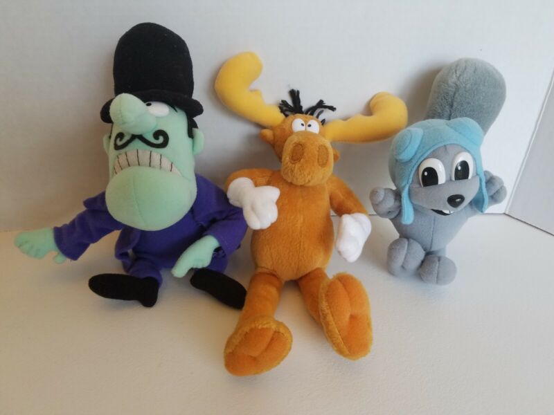 Rocky, Bullwinkle, And Snidley Plush Doll Lot of 3