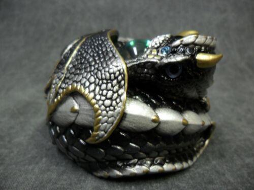 Windstone Editions NEW * Silver (Intense Black) Curled Dragon * Statue Figure