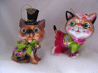 Kitty Cat Pair Ornaments Mardi Gras or New Year's Eve Celebration Party Animals