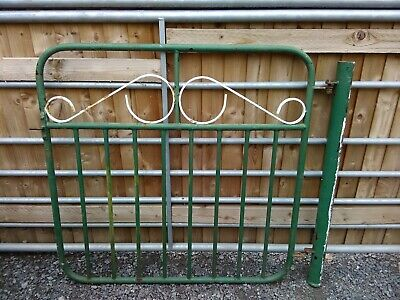 VINTAGE HEAVY 1930's GARDEN GATE WITH ORIGINAL GATE POST CAST IRON WROUGHT IRON
