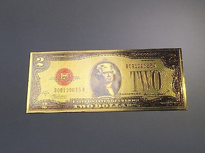 Both sides GOLD USA $ 2 DOLLAR BILL Gold 1928 year 2 Dollar of Lucky gift