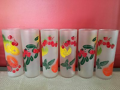 Vintage Federal Highball Glasses Set 6 Tom Collins Zombie Fruit Mid Century NICE