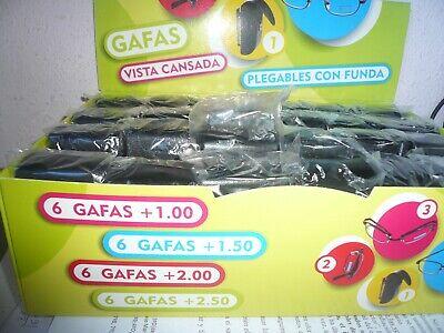 LIQUIDACION LOTE CAJA 24 GAFAS LECTURA PLEGABLES + FUNDA 6 DE CADA...