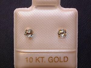 Feinste Aquamarin Ohrstecker Ohrringe - 3 mm - 10 Kt. Gold - 417 - Brillant Cut