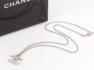 Auth CHANEL CC Logo Necklace Pendant Silver-tone Off White 04V France 18568012