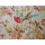 Antique French Floral Bird Cotton Fabric ~ Red Turquoise ~ beautiful patina