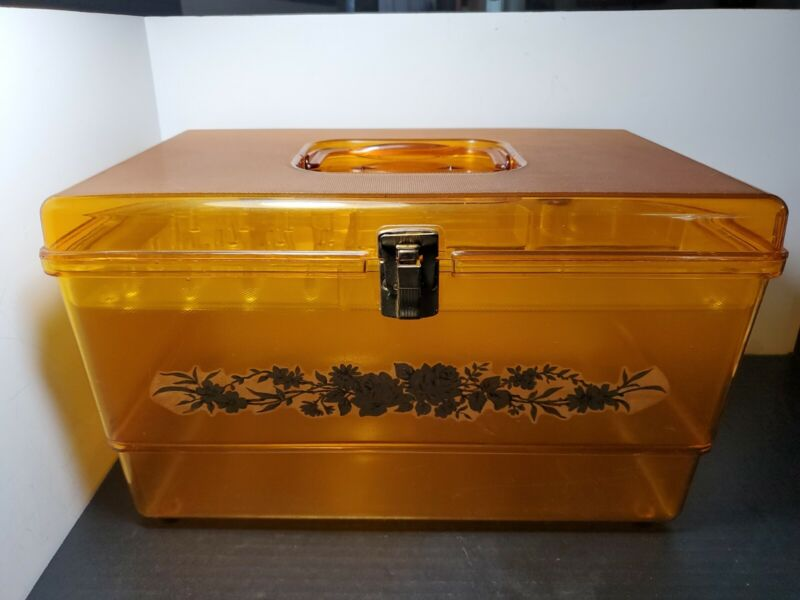 Vintage Wilson Wil-Hold Sewing Box Translucent Yellow Plastic Basket w/Tray